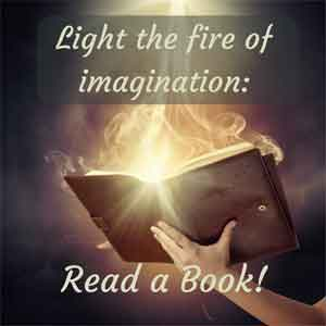 A book with flames rising from the pages and the caption Light the fire of imagination - read a book